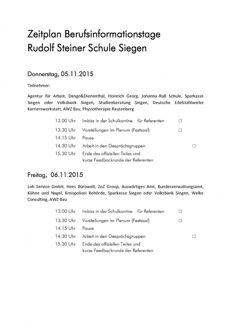 Zeitplan Berufsinformationstage 2015